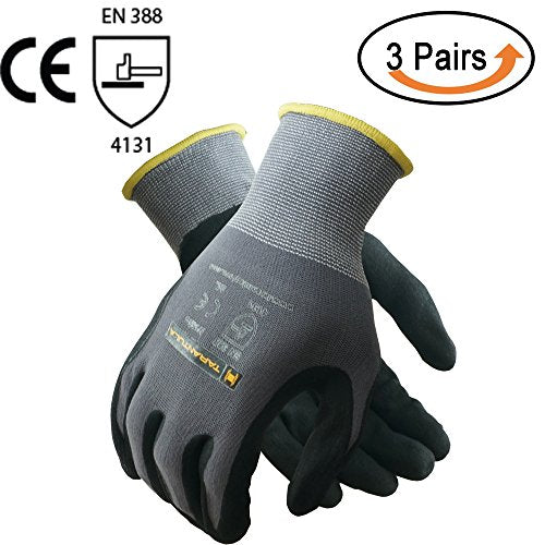 3 Pack: Tarantula Nitrile Coated Breathable Safety Work Gloves