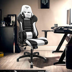 High-Back Racing Style Leather Gaming Chair with Adjustable Armrests - Executive Ergonomic Swivel - Headrest - Lumbar Support