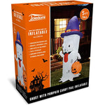 5 FT Inflatable Ghost with Pumpkin Candy Pail Build-in LEDs