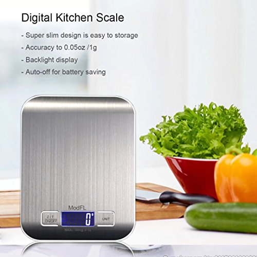 Digital Kitchen Scale for Food LCD Backlite Display and Tare Function Stainless Steel 11 lb