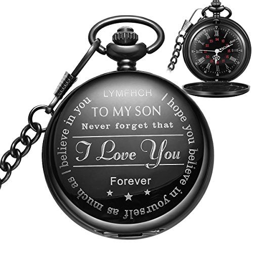 Black Pocket Watch personalized pattern Steampunk Retro Vintage Quartz Roman Numerals Pocket Watch