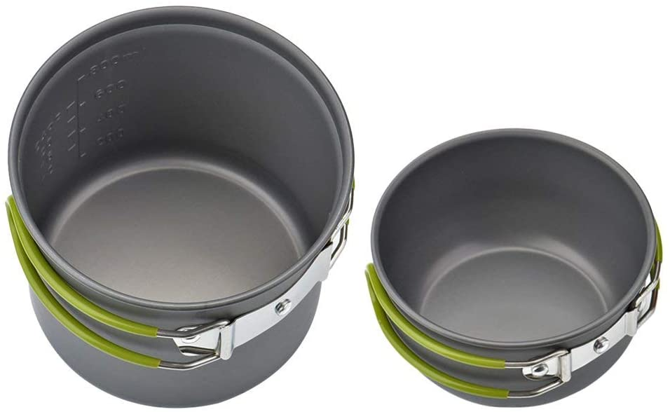 wuudi Camping Equipment, Outdoor Camping Pots and Pans Set 2PCS Camping Cookware