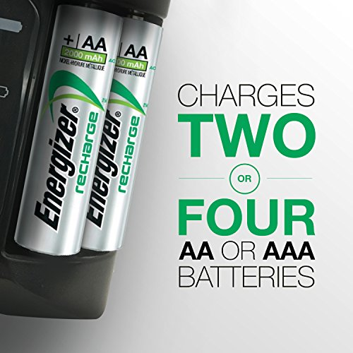 Energizer Rechargeable AA and AAA Battery Charger (4 AA Rechargeable Batteries Included)