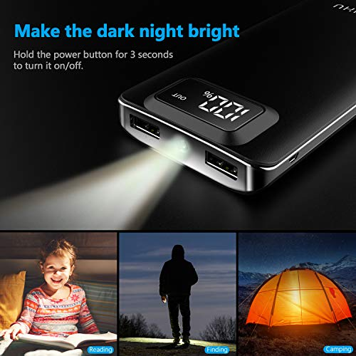 Portable 10,000mAh LED Display 2-Port High Speed External Battery with Flashlight