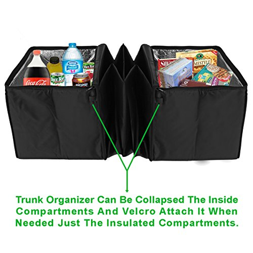 Auto Trunk Organizer With Insulated Cooler Compartments By Lebogner - X-Large Vacation Trunk Cooler Box For Hot Or Cold Food While Traveling, Multipurpose Collapsible Car Accessories Storage Organizer