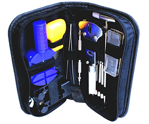 13 Piece: Stainless Steel Watch Repair Kit with Carrying Case