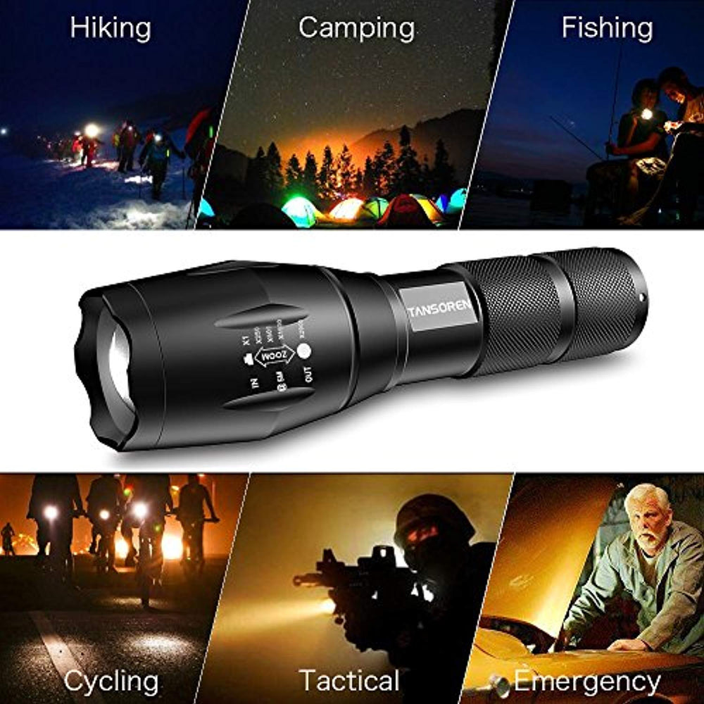 4 Pack: Tactical High Powered 5-Mode LED Flashlight with 4 Buckle Carabiners
