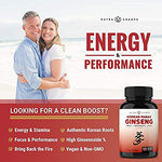 1000mg Red Panax Vegan Non GMO Ginseng Energy, Performance, Stamina Supplements - 120 Capsules