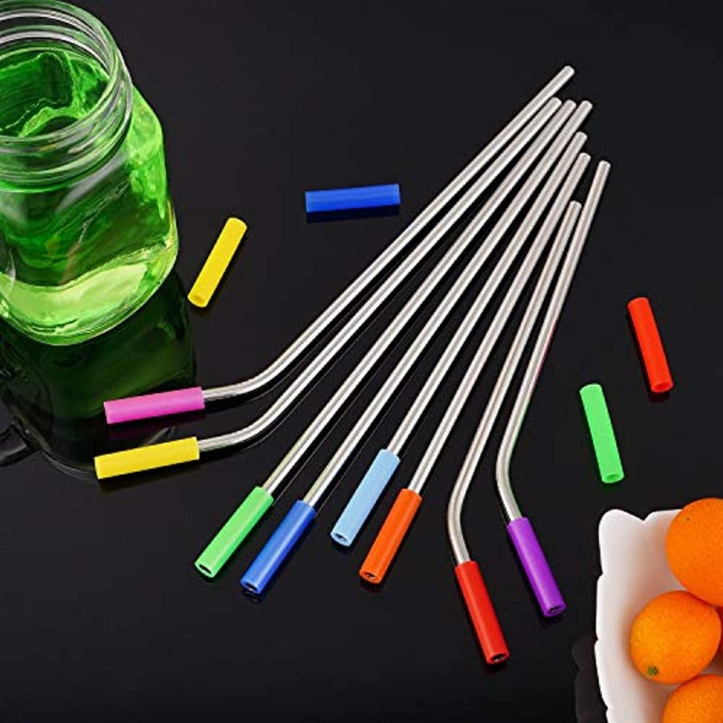 16 Pack Reusable Stainless Steel Straws Set plus Silicone Covers