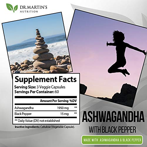 1950mg Ashwagandha Veggie Capsule with Black Pepper - 180 Capsules