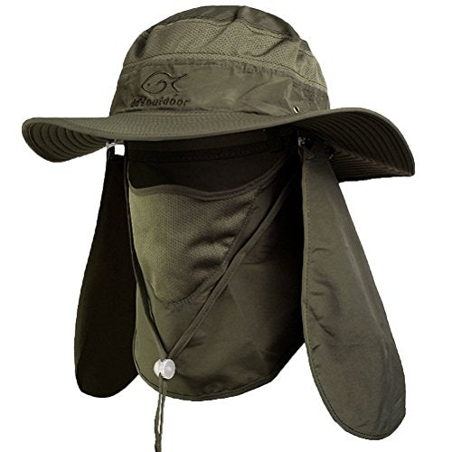 Army Green Outdoor Neck & Face Sun Protection Wide Brim Hat