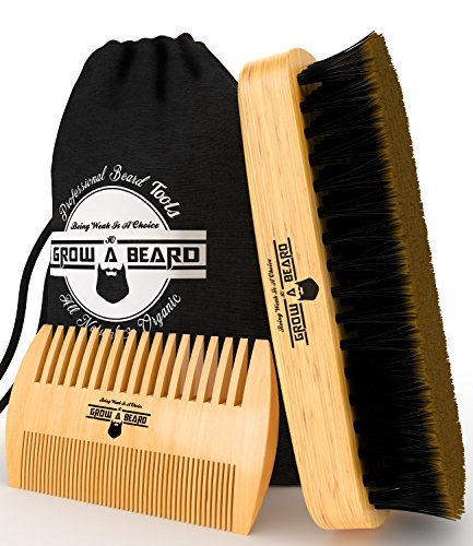 Bamboo Beard Grooming Brush and Comb Travel Set