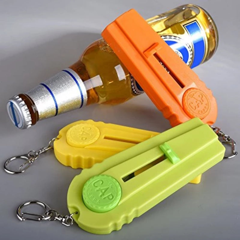 3 Pack: Zappa Bottle Cap Launcher Keychain - Orange, Yellow and White