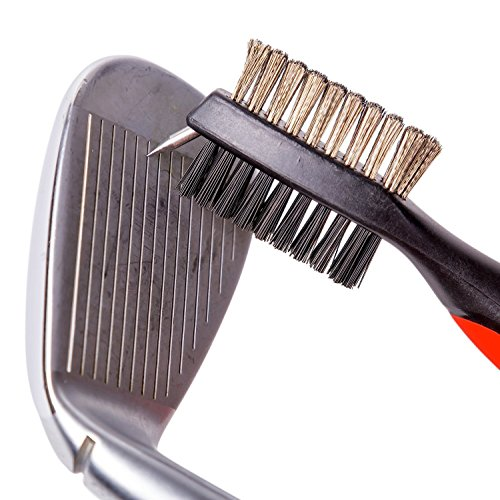 2 Pack: Lightweight Retractable Golf Club Brush with Aluminum Zip-Line Carabiner