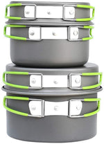 Bisgear Camping Cookware Pots and Pans Set Mess Kit Backpacking Gear Cooking Equipment 14 Piece Cookset Outdoors Bug Out Bag Hiking Bowl Fork Fire Starters Carabiner for 2 Person