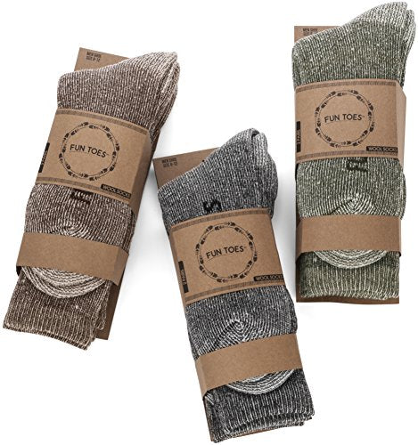 6 Pack: Men's Lightweight Merino Wool Winter Socks