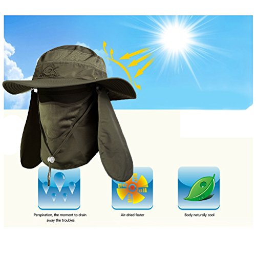 DDYOUTDOOR trade; 07-281 Fashion Summer Outdoor Sun Protection Fishing Cap Neck Face Flap Hat Wide Brim