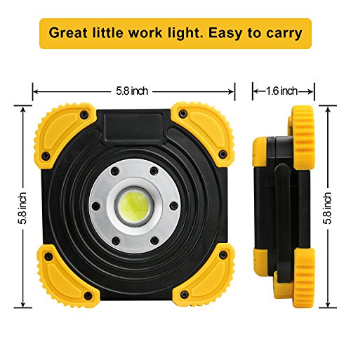 LED Work Light, Puaida Floodlight with Stand COB LED Tech and 2 Brightness Modes - Portable Outdoor Security Camping Lights for Job Site, Car Repairing and Emergency
