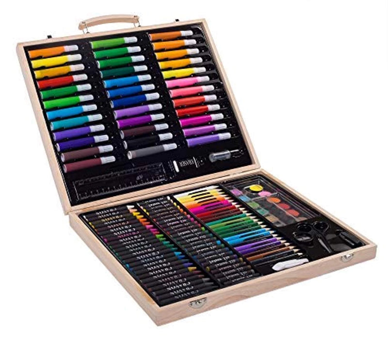 131-Piece Variety Portable Art Set For Kids with Wood Case