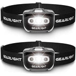 2 Pack LED Headlamp Flashlight with Red Safety Light for Adults and Kids