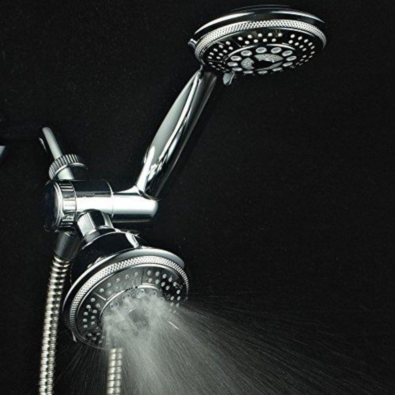 Full-Chrome 24 Function Ultra-Luxury 3-way 2 in 1 Shower-Head /Handheld-Shower Combo