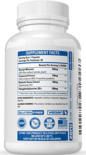 Natural Brain Supplement Nootropic - Promotes Memory, Focus & Clarity, Physician Formulated Brain Function Support with Rhodiola Rosea Extract, Bacopa Monnieri, Grapeseed Extract & More
