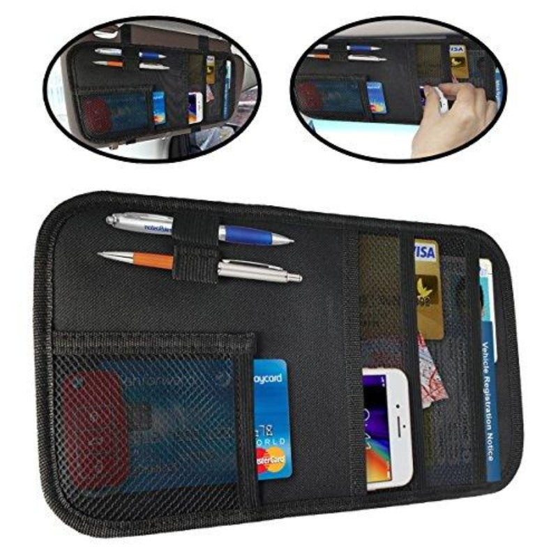 Car Sun Visor Clip-On Pocket Organizer