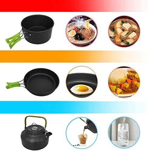 RegeMoudal Camping Cooker Set Camping Pot Outdoor Cookware Set Equipment Mountaineering Pot Aluminum Cooker BBQ Tableware Camping Pot