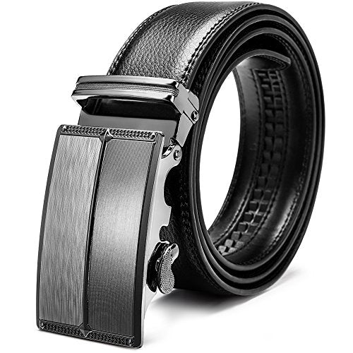 Men's Leather Ratchet Dress Belt with Automatic Sliding Buckle