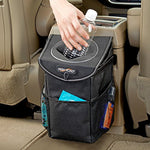 Stash Away Car Trash Can with Lid and Storage Pockets