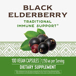 100 Count Nature's Way Black Elderberry Capsules 1150 mg per Serving