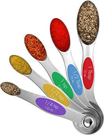 Vremi Magnetic Stainless Steel Measuring Spoons - Set of 5 Metal Measurement Spoon for Dry and Liquid Ingredients - Multifunctional Teaspoon and Tablespoon BPA Free Double End Nesting for Home Kitchen