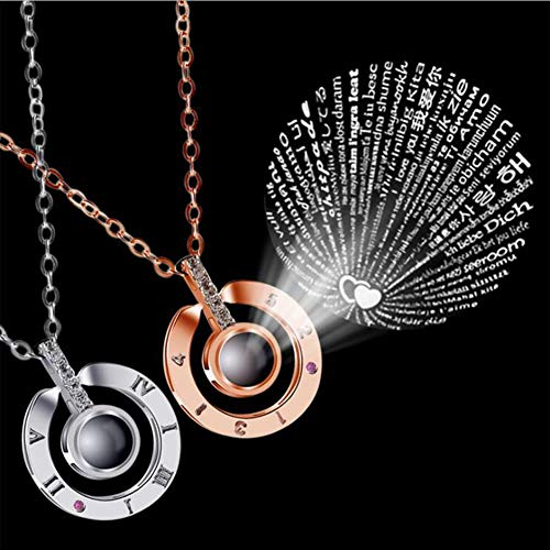 """I Love You"" Projection Necklace Pendant - 100 Different Languages"