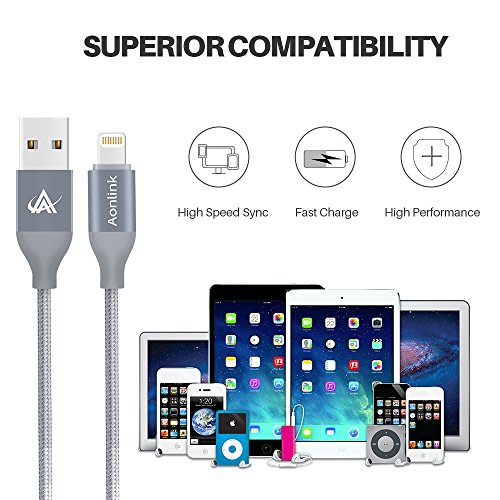 Aonlink B07C3B1HLF Charger 3 Pack(1M 2M 3M) Lightning Charging Cable, Multi Safety Defense, Nylon Braided, Ultra Durable, for Iphone X/8