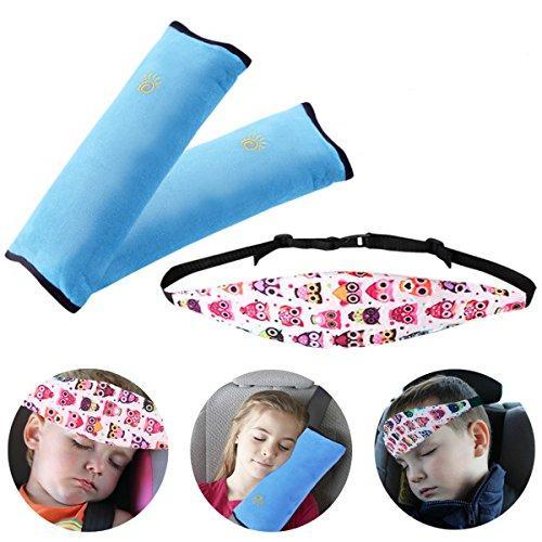 3 Piece: Kids Safety Seatbelt Pillow & Head Support Band