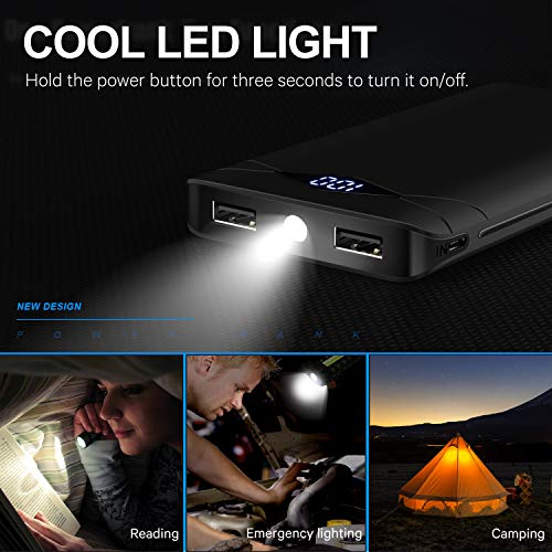 Compact 10,000mAh 2-Port USB Powerbank with LED Display