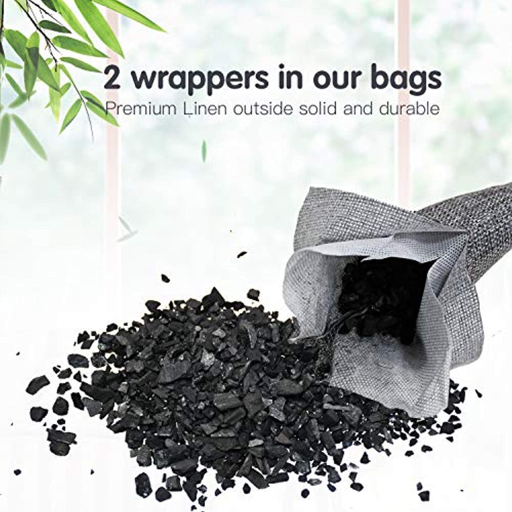24 Pack Bamboo 100% Charcoal Air Purifying Bag for Shoes, Home and Car