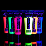 Set of 6 Tubes Neon Fluorescent UV Glow Blacklight Face and Body Paint