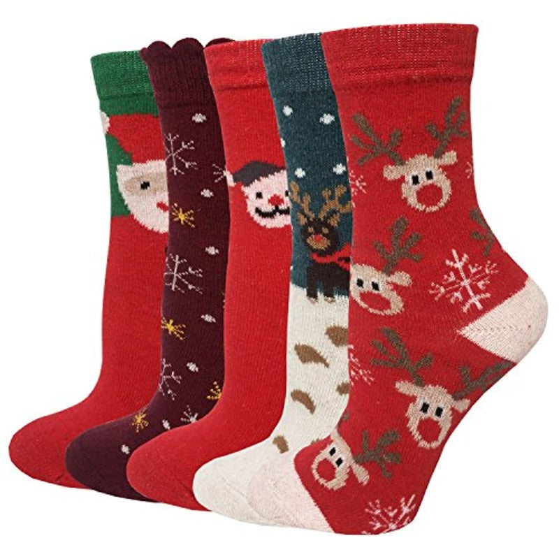 5 Pack Women's Holiday Wool Crew Socks