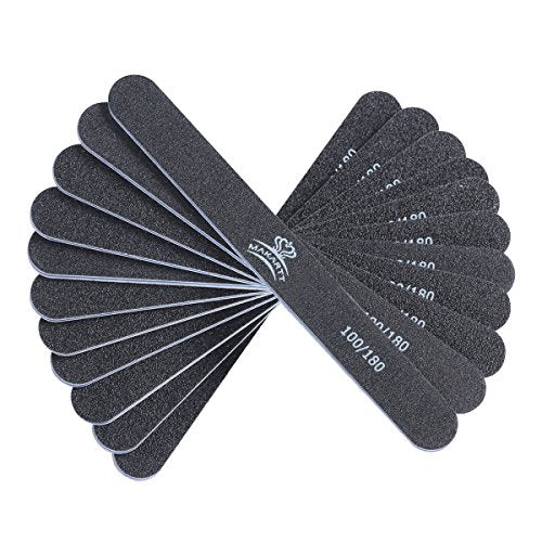 10 Pack: Professional Black Washable Double-Sided Nail Files