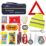 DEDC 72pc Auto Emergency Car Kit with Jumper Cable Vest Hammer Towing Strap Tire Repair Travel Tools Breakdown Roadside First Aid Kit
