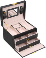 Women's Jewelry Box Organizer With Lock And Mirror