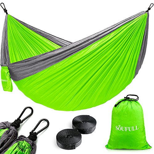 Soufull Camping Hammock with Hammock Tree Straps & Carabiners, Portable Parachute Nylon Hammock for Backpacking Travel, Beach, Yard