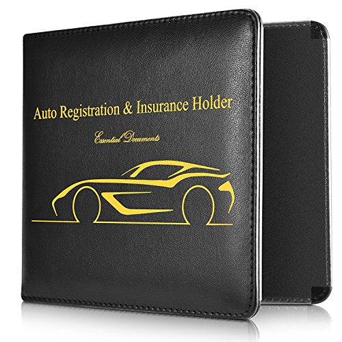 Basenor Car Document Holder, Slim Leather Water Resistant Strong Magnetic Car Registration and Insurance Wallet Holder