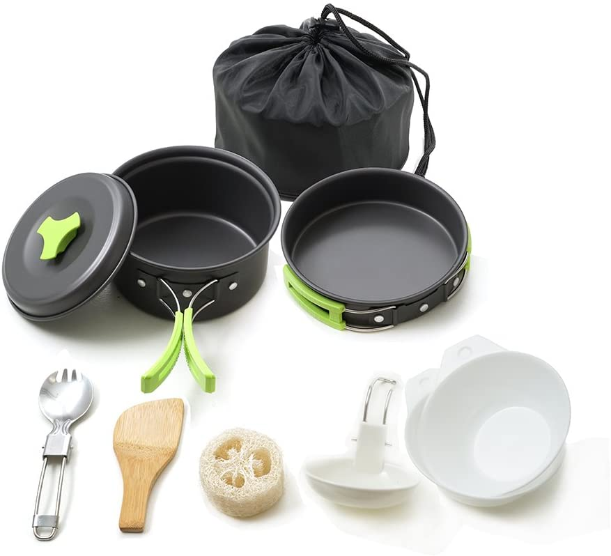 HONEST OUTFITTERS Portable Camping cookware Mess kit Folding Cookset for Hiking Backpacking 10/11 Piece Lightweigh Durable Pot Pan Bowls Spork with Nylon Bag Outdoor Cook Equipment