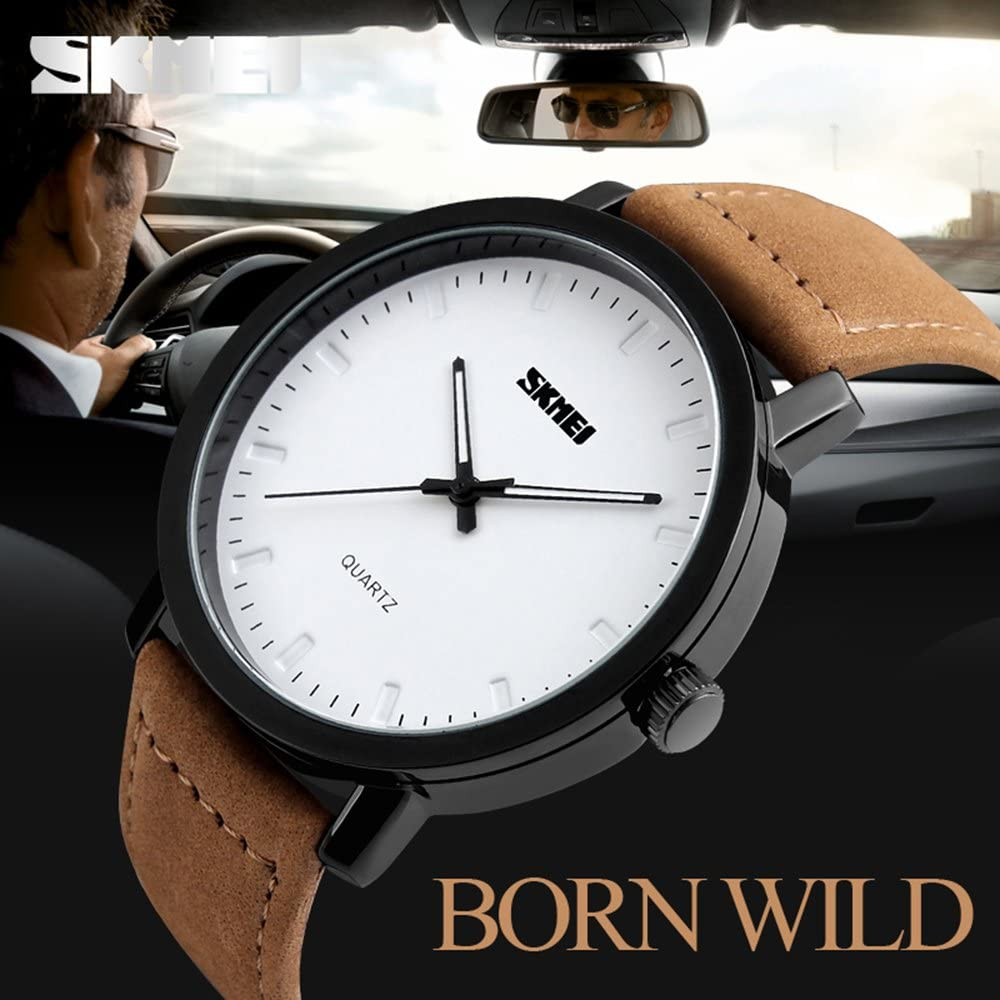 Brand Casual Fashion Men's Brown Leather Sport Military Army Quartz Watches with White Dial 30M Waterproof