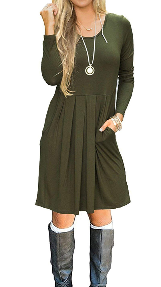 Women's Long Sleeve Casual Pleated Loose Swing T-Shirt Dress with Pockets
