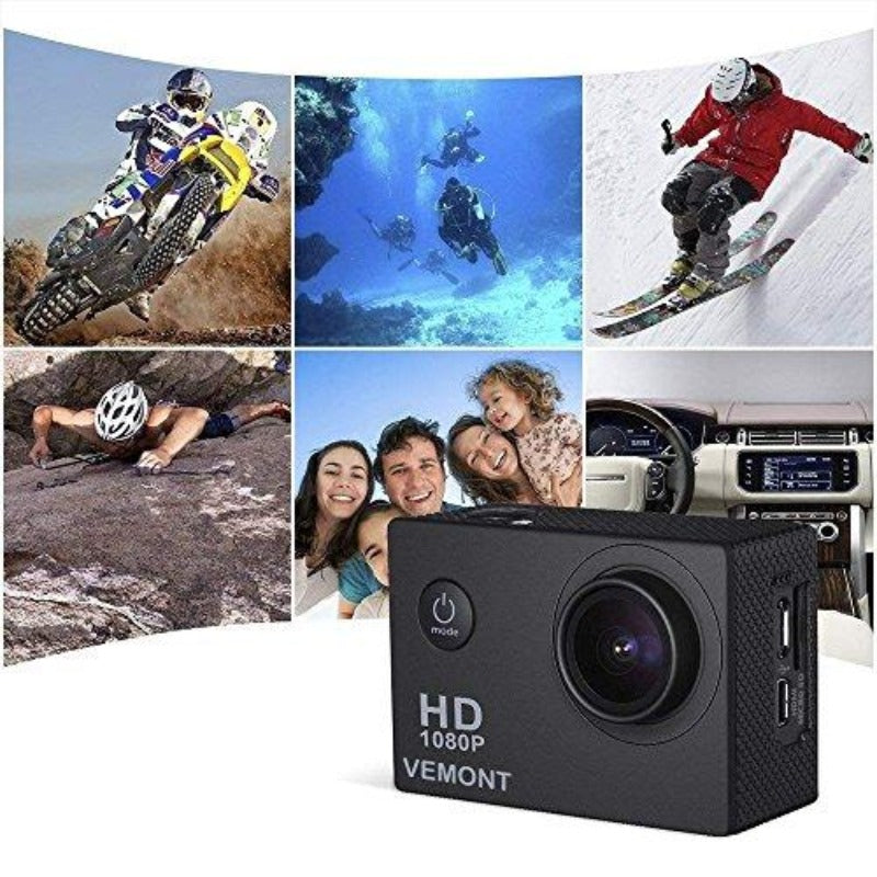 Full 1080P HD 12MP Waterproof Sports Action Cam with Mounting Accessories
