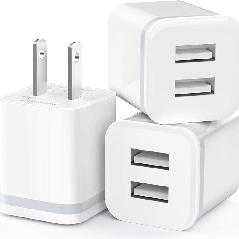 3-Pack USB Dual Port 2.1A/5V Wall Charger