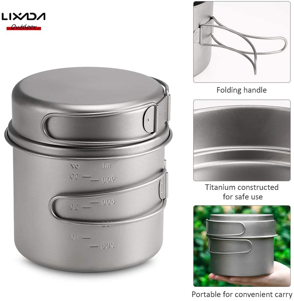 Lixada Camping Cookware Set - Titanium Stove Pot Pan Frypan Bowl Cup Ultra Light Portable Cooking Equipment Mess Kit Tools with Folding Handle for Outdoor Camping Hiking Picnic